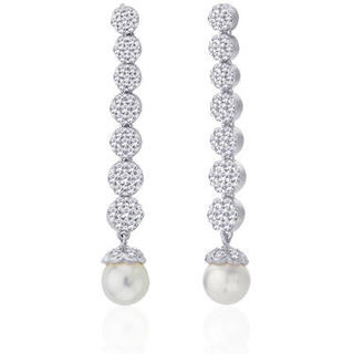Peora Graceful Rhodium-plated Statement Drop Earrings A291S