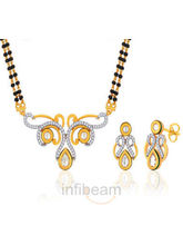 Peora Gold Plated Mangalsutra Earrings Set Pm68Gj