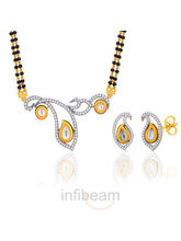 Peora Gold Plated Mangalsutra Earrings Set Pm64Gj