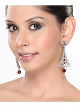 Classic Chandelier Earrings With Rubies And Cz.