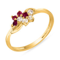 Mahi Gold Plated Creative Melange Ring With Ruby And CZ Stones for Women FR1100295G, 10