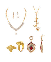 Voylla Combo Of 1 Necklace Set, 1 Without Chain Pendant, Pair Of Earrings, Pair Of Toe Rings -VLJAI60387