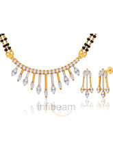 Peora Stylish And Exquisite Gold Plated Mangalsutra And Earrings Set
