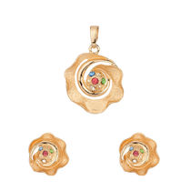 Voylla Gold Plated Floral Pendant Set Without Chain   SNJAI20271