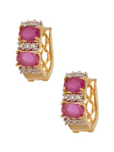 Voylla Exotic Oval Design Gold Plated Earrings Studded with CZ and Pink Color Stones-SCCCU20367