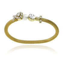 Mahi Gold Plated Daliy Delicacy Kada with Crystals & Pearl For Women BA1100696G