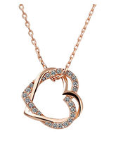 Crunchy Fashion Alloy Rose Gold Dual Heart Pendant...
