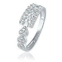 Mahi Rhodium Plated Bright Array Ring with CZ Stones for Women FR1100438R, 14