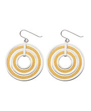 Inox Jewelry Stardust Collection Silver Stainless Steel With Gold IP Sand Finish Multi-Ring Hook Earrings