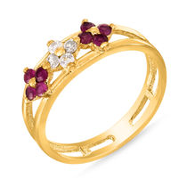 Mahi Gold Plated Dainty Ring With Ruby And CZ Stones for Women FR1100298G, 10