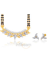 Peora Opulent And Captivating Gold Plated Mangalsutra And Earring Set