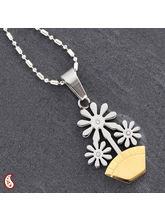 Flower Pot Cz Stud Necklace