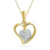 Ishis 18K Gold and Diamond Heart Pendant-10127, yellow gold