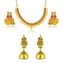 Donna Combo Of Scintillating Laxmi Gold Plated Necklace Set & Earrings For Women Co1104366G