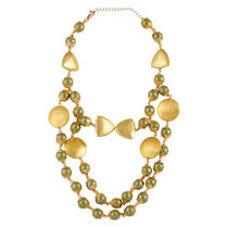Go Bold Gold Colored And Green Beads Evangeline Necklace (A05949)