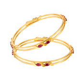 Mahi Gold Plated Winning Vogue Bangles With Ruby for Women BA1105051, 2.4