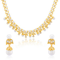 Oviya Gold Plated Dynamic Necklace Set with Artificial Pearls For Women NL2103077G