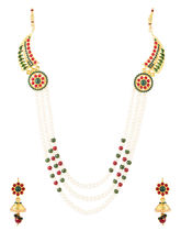 Voylla Endearing Necklace Set Embellished With Pearls And Colored Stones-SCBOM21693