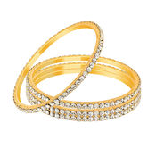 Mahi Gold Plated Winsome Beauty Bangles With Crystals for Women BA1105025G, 2.6
