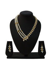 Nisa Pearls Golden Beaded Necklace Set With Pearls...