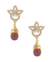 Voylla Pair Of Yellow Gold Plated Earrings With Purple Colored Stone - IJJAI20699