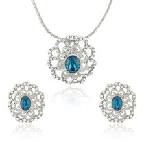 Mahi Rhodium plated Blue Crystal Paradise Flower Pendant Set Made with Swarovski Elements for Women NL1104125RBlu