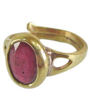 Galaxy Certified Ruby Folding Ring, Panchdhatu, Adjustable Ring Of Rashi Ratan Surya