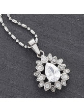 Pear Shaped White Cz Necklace