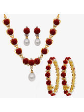 Nisa Pearls Combo Of 1Necklace Set 2 Bangles