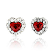 Mahi Rhodium Plated Red Titanic Heart Pendant Set Made with Swarovski Elements for Women NL1104119RRed