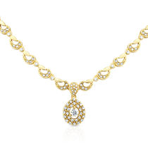 Oviya Gold Plated Evening Blush Pendant With Crystal For Women - PS2193062G