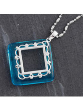 Mid Blue Agate Ring Silver Necklace