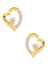 Voylla Gold Plated Heart Earrings With CZ-SCCCU20465