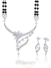 Peora classic traditional Rhodium plated Mangalsutra and earring set
