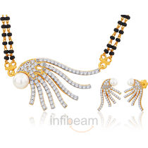 Peora sunrise pearl Gold plated Mangalsutra and earring set