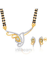 Peora Gold Plated Mangalsutra Earrings Set Pm63Gj