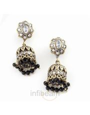 Rajwada design Handcrafted polki jhumka earrings