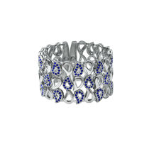 Mahi Crystal Blue Paisley Rhodium Plated Kada Cuff Bracelet for Women BA1101064R