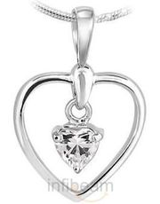 Heart Shaped Pendant with Swiss Cubic Zircon in Sterling Silver
