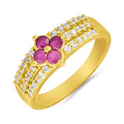 Mahi Rhodium plated Ultra Modish Finger Ring with CZ for Women FR1100656R, 14