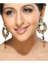 Multicolour Kundan Hoop Earrings