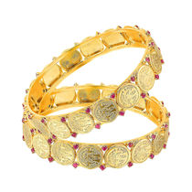 Mahi Gold Plated Divine Bangles With Ruby for Women BA1105049G, 2.4