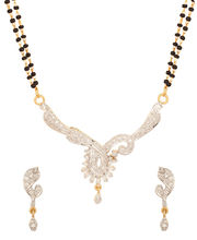 Voylla Double Chain Mangalsutra Set With Peacock Design, Gold Plating - PSJAI22927
