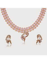 Nisa Pearls Gold Plated White Pearl Necklace Set W...