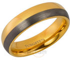 Elegant Centre Tapered with Gold And Matt Steel Finish Mens Tungsten Carbide Band Ring (10 US)