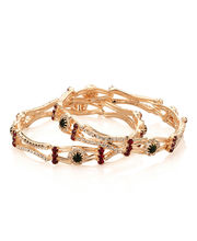 Voylla Bangle Set With Round Green Stone Surrounded by Sparkling Cz, 2.25