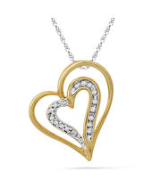 Ishis 18K Gold And Diamond Heart Pendant-24837, Yellow Gold