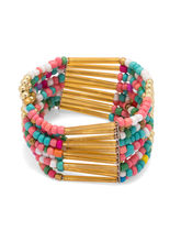 Voylla Alluring Beaded Theme Bracelet Adorned With Alluring Beads, adjustable, gold
