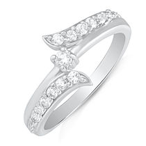 Mahi Rhodium Plated Beckoning Arc Finger Ring with CZ for Women FR1100615R, 10