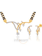 Peora Elegant And Exquisite Gold Plated Mangalsutra And Earrings Set